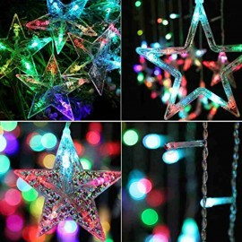 Stars Light Curtain Decoration 12 Stars,138 LED Curtain String Lights (Multi-Colour)