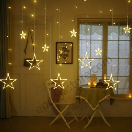 Stars Light Curtain Decoration 12 Stars,138 LED Curtain String Lights