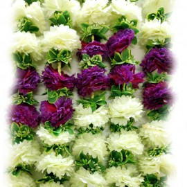 Decorative Artifical Flowers White and Purple Colour  (73 Inchs)