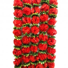 Decorative Artifical Flowers Red and Green Colour  (73 Inchs)