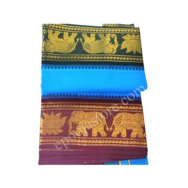 Cotton Dhothi (Blue Colour) With Elephants Border (9*5)