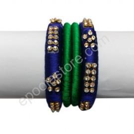 Silkthread Blue and Green Colour Bangles
