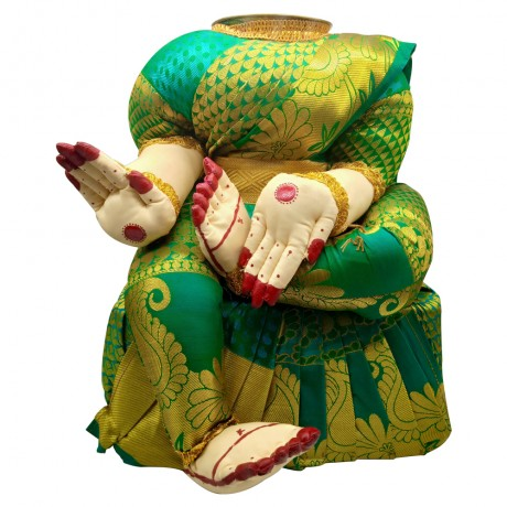 Ammavari Idol (Green Colour with Kaddi Border) (12 Inchs)