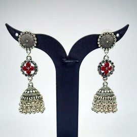 Antique Oxidized German Silver Earnings  with Red Colour Stones