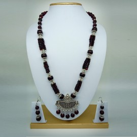 Oxidized German Silver Pendant With Dark Maroon Beads Necklace With Earrings For Women And Girls