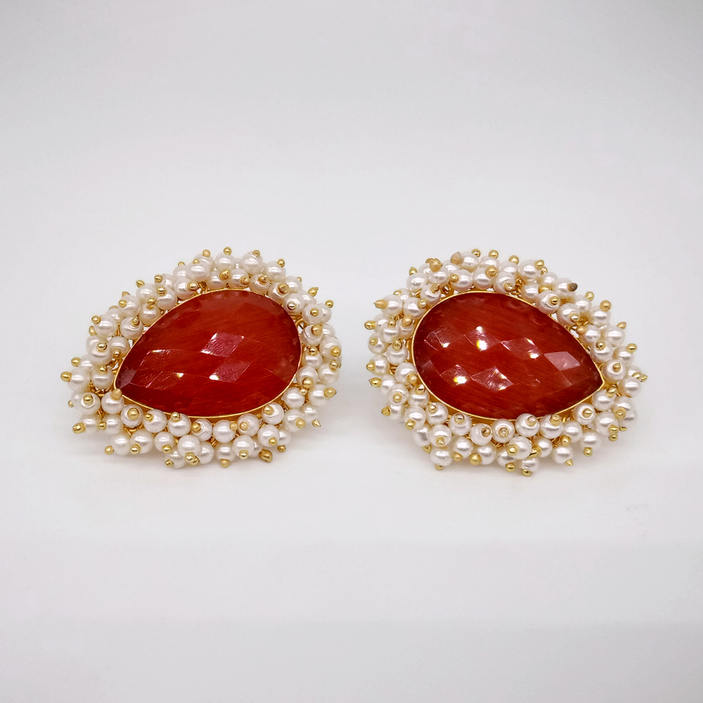 Oxidized Antique Orange Kundan Stone with White Pearl Designer Traditional Fusion Stud Earrings for Women