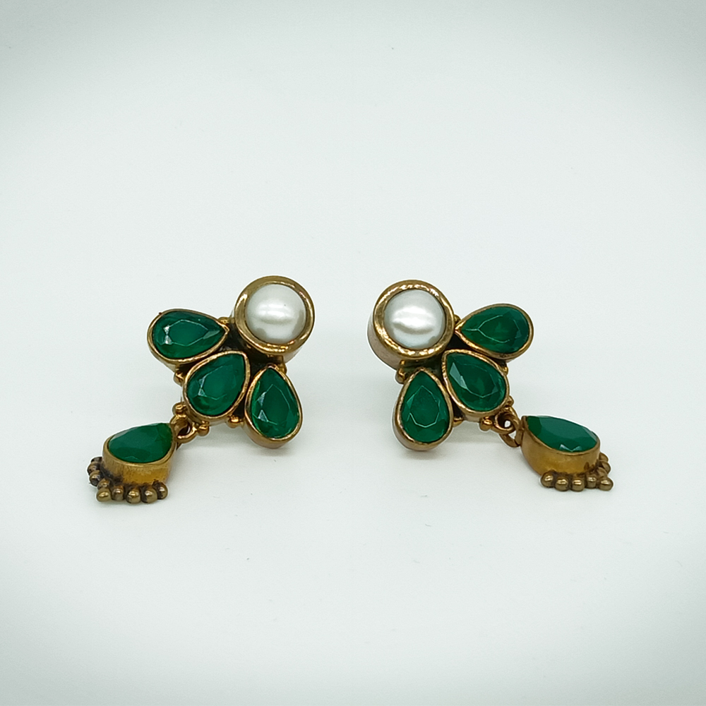 Precious Emerald Stone with White Pearl Brass Earrings / Jhumkis for Women and Girls