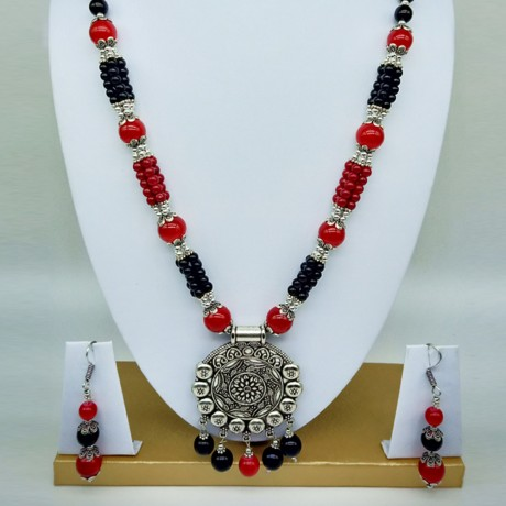 Oxidized German Silver Pendant With Red and Black Beads Necklace With Earrings For Women And Girls
