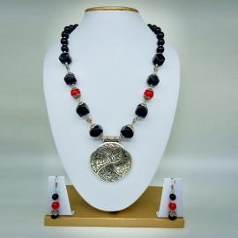 Tibetan Stone Black & Red Beads With Oxidized German Silver Pendant Necklace With Earrings For Women And Girls