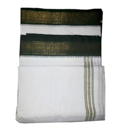 White Cotton Dhoti with Green Border (9 * 5)