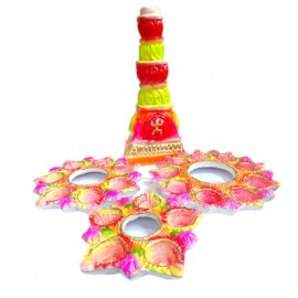 Mud Diyas with Stand