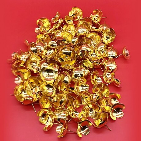 Silver Flowers with Gold Coated (108 Flowers) (Big Size)