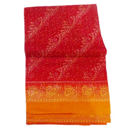 Saree for Deities ( Red Colour Saree with Yellow Colour border)