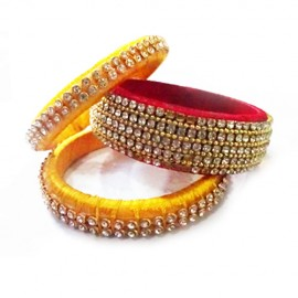 Red and Yellow Colour Designer Bangles