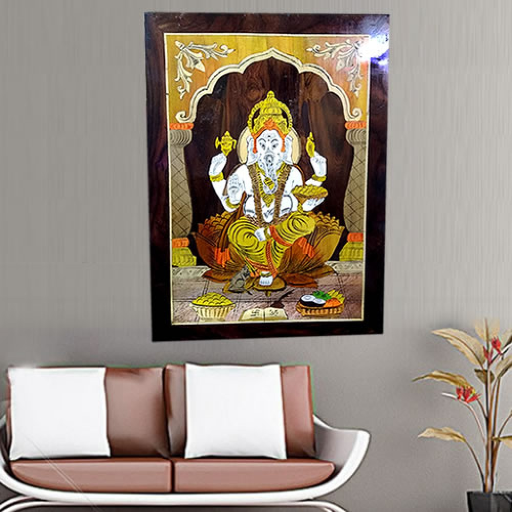 Ganesha (Rosewood Curved Painting)