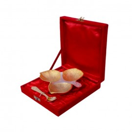 Gold Plated Brass Three Khand Platter With Spoon ( 6''x 6'' )