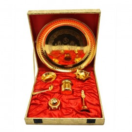 "Gold Plated Steel Pooja Thali 9"" Diameter with Brass Bell"