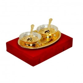 "Brass Bowl Gold & Silver Plated Set 5 Pcs. (Bowls 4"" Diameter & Tray 10"" x 8"")"