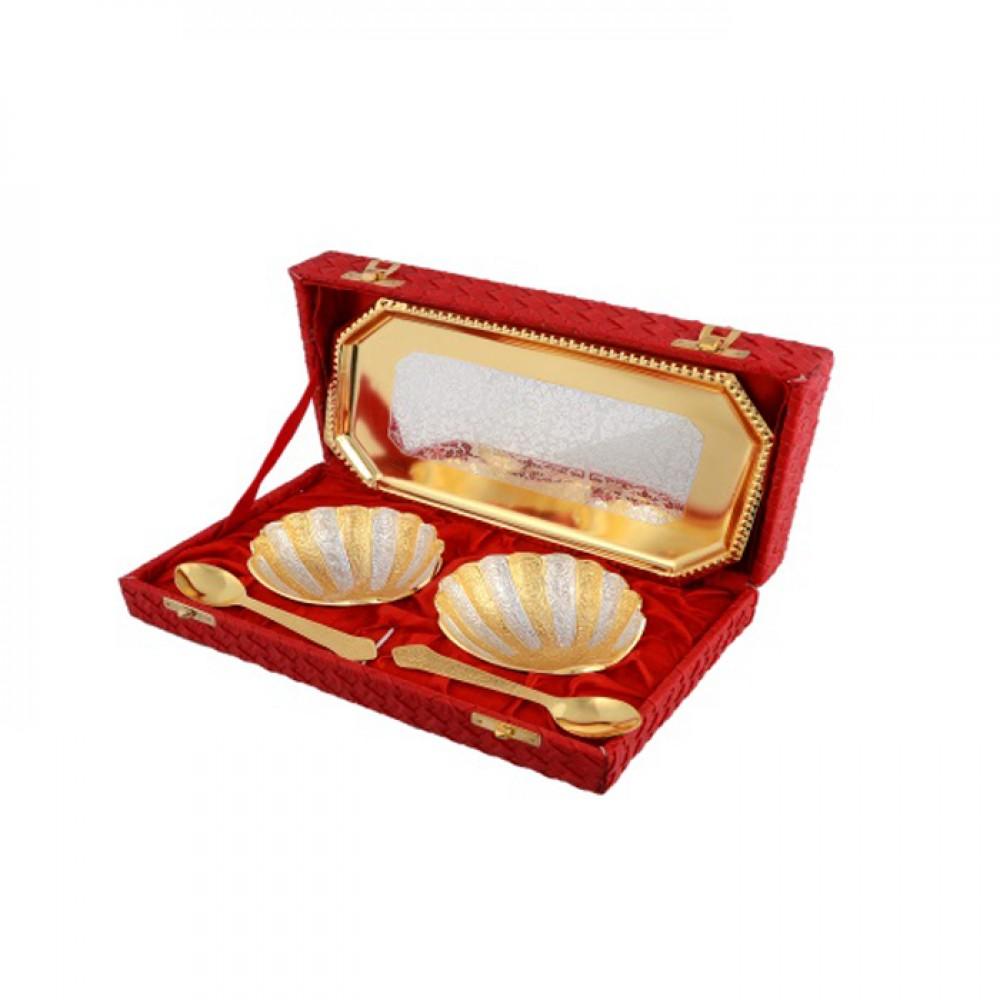 Silver & Gold Plated Brass Shell Shaped Bowl Set 5 Pcs. (Bowl 4'' x 3.75'' & Tray 9.5'' x 5.5'')
