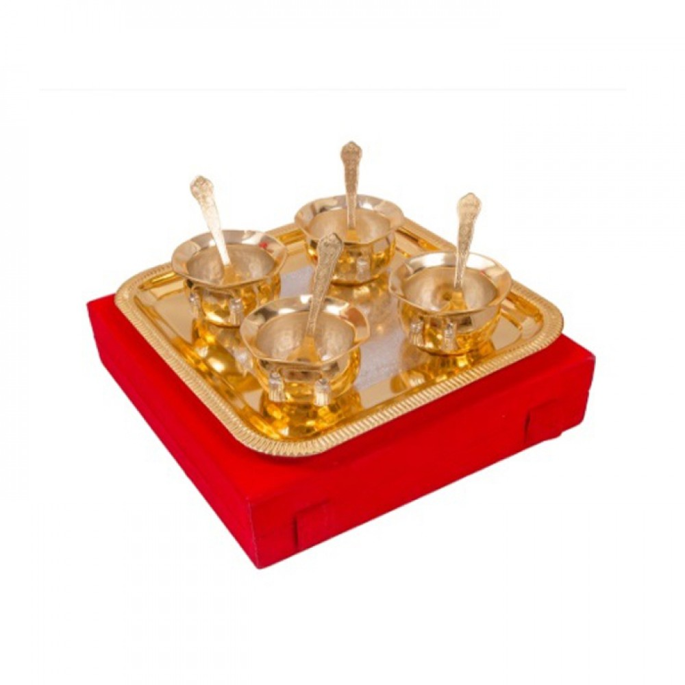 "Silver & Gold Plated Brass Handi Set 9 Pcs. ( Handi 3.5"" Diameter & Tray 8.75"" x 8.75"")"
