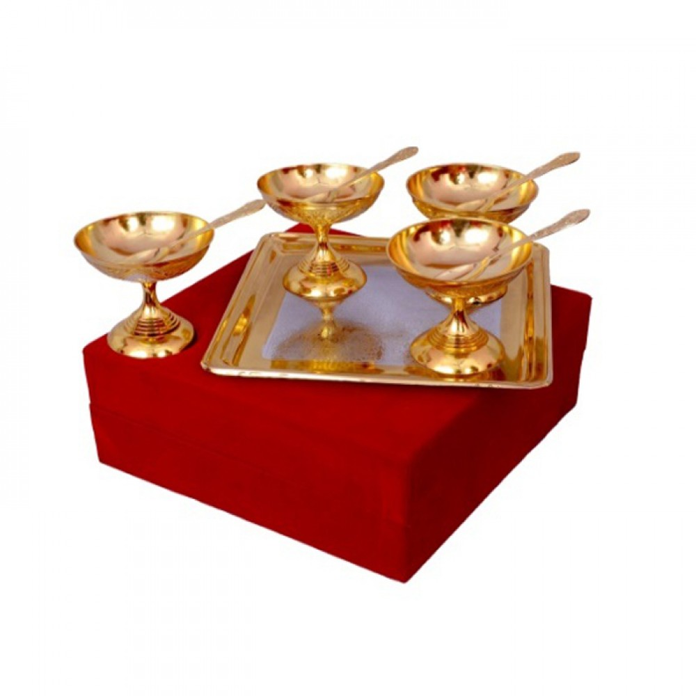 "Silver & Gold Plated Brass Ice Cream Bowl Set 9 Pcs. (Bowl 3.5'' Diameter & Tray 8"" x 8"")"