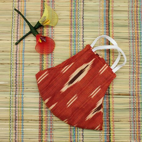 Ikkat & Handloom Cotton Masks (Red Colour)