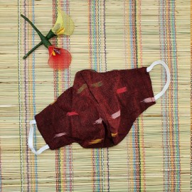 Ikkat & Handloom Cotton Masks (Maroon Colour)