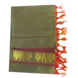 Namo Border Zari Shawl ( dark Green)