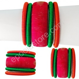 Silkthread Bangles in Red and Green Colours